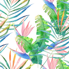 Abstract seamless pattern. Watercolor jungle print. Hand drawn illustration