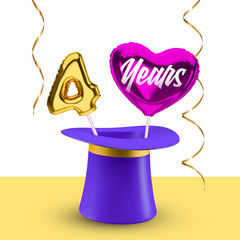 Four Years anniversary vector banner with magic hat, balloon number 4 and heart for congratulations.