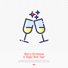 Two glasses of champagne thin line icon. Vector illustration of party, Christmas and New Year symbol.