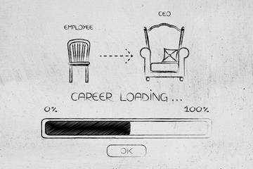 from employee chair to Ceo throne with progress bar loading