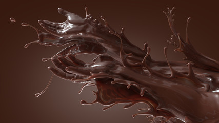 Mixed splash of sweet chocolate cocoa and coffee. Giving hands in liquid sculpture of beverages. 3d illustration on dark brownish gradient background