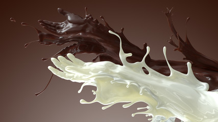 Mixed splash of coffe and milk. Giving hands in liquid sculpture of beverages. 3d illustration on brown background