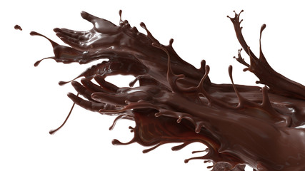 Mixed splash of sweet chocolate cocoa and coffee. Giving hands in liquid sculpture of beverages. 3d illustration isolated on white flat background