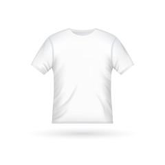 Blank t-shirt template clothing fashion. White shirt design with sleeve cotton uniform