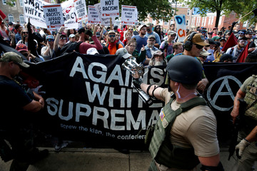 White nationalists are met by a group of counter-protesters in Charlottesville Virginia