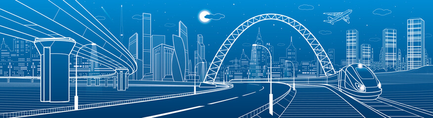Wall Mural - Infrastructure transport panorama. Train rides under bridge. Towers and skyscrapers. Urban scene, modern city on background, industrial architecture. Highway overpass. White lines, vector design art