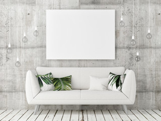 mock up poster with white sofa, minimalism design, 3d illustration
