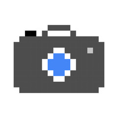 photo camera pixel art cartoon retro game style