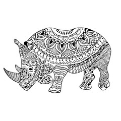 Rhino doodle stylized, hand drawn, black on white