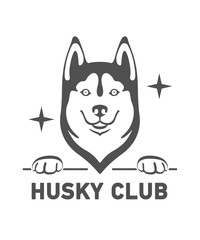 Silhouette of the head of a cheerful and friendly dog of the breed Husky with letters Husky Club. Black vector isolated on background.