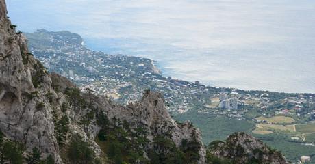 Panoramic view from Ai-Petri mountain towards Crimea coastline, Russia.