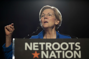 Senator Elizabeth Warren (D-MA) addresses the audience at the morning plenary session at the Netroots Nation conference for political progressives in Atlanta