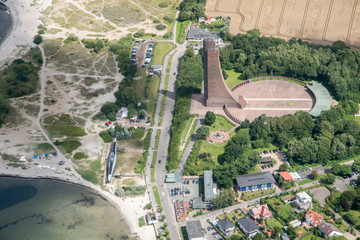 Panorama flight over the north of Germany. Schleswig-Holstein and Fehmarn