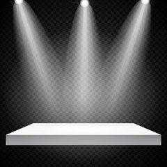 Exhibition Concept, White Empty Shelf  Stand with Illumination on Gray Background. Template for Your Content. 3d Vector Illustration