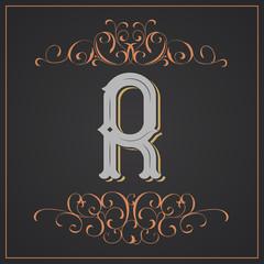 Retro style. Western letter design. Letter R