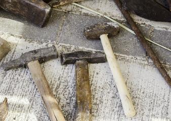 Old steel hammer