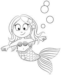 Niedliche Meerjungfrau - Vektor Illustration