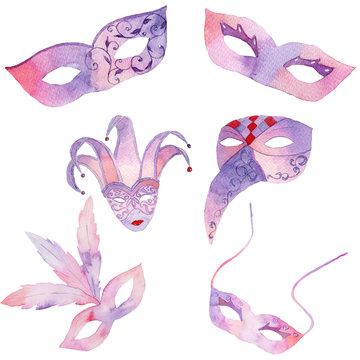 Watercolor hand drawn venetian carnival masks