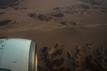 The desert of Egypt. View from the airplane