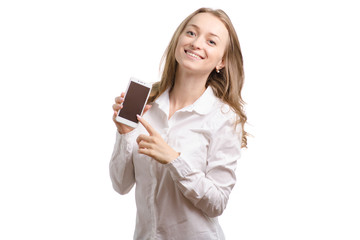 Young woman in a white shirt with a smartphone