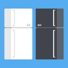 Vector refrigerators set. Black and white fridge. Modern flat design vector illustration
