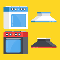 Vector kitchen range set. Black and white stove and oven and range hoods. Modern flat design vector illustration