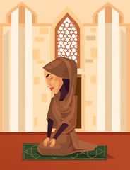 Muslim woman character praying in mosque. Vector flat cartoon illustration