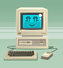 Happy smiling old computer character. Vector flat cartoon illustration