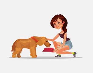 Happy smiling woman character owner feeding dog. Vector flat cartoon illustration