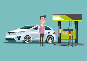 Gas station and happy smiling consumer man character. Vector flat cartoon illustration