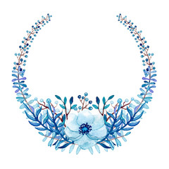 Wreath with Watercolor Blue Flower and Place for Text