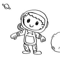 cute Astronaut  coloring