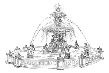 Fountain at Place de la Concord in Paris hand drawing image