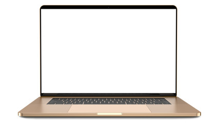 Laptop with blank screen isolated on white background, gold aluminium body. Whole in focus. High detailed.