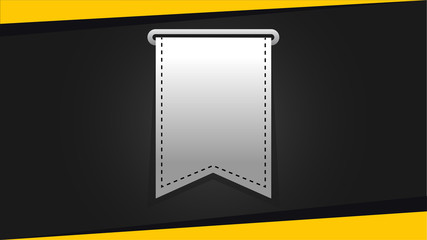 Web, label or tags elements for print, bookmark, banner and poster material, vertical ribbon.
