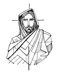 Ink illustration of Jesus Christ and a Cross