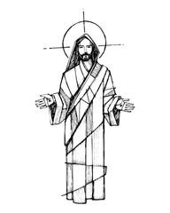 Ink illustration of Jesus Christ with open hands