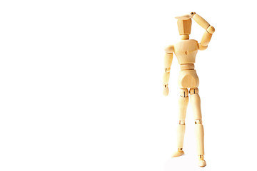 Wooden figure doll with looking emotion for success business concept on white background