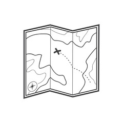 Map icon. Treasure map icon