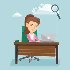 Young smiling business woman working on a laptop under the cloud. Caucasian business woman using cloud computing technologies. Cloud computing concept. Vector cartoon illustration. Square layout.