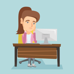 Exhausted caucasian employee sitting at workplace and looking at computer screen. Young overworked tired employee working with her head propped on hands. Vector cartoon illustration. Square layout.