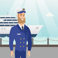 Caucasian ship captain standing on the background of sea and cruise ship. Young smiling hipster ship captain in uniform standing on the seacoast background. Vector cartoon illustration. Square layout.