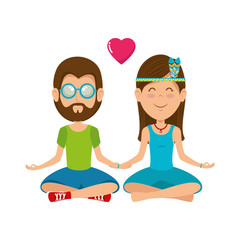 Hippie cute couple cartoon