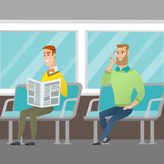 Caucasian people traveling by public transport. Man using mobile phone while traveling by public transport. Young man reading newspaper in public transport. Vector cartoon illustration. Square layout.
