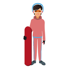 snowboarder girl winter clothes with goggles and earmuffs vector illustration