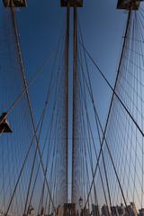 ニューヨーク・ブルックリン橋のワイヤー