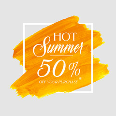 Hot Summer Sale 50% off sign over watercolor art brush stroke paint abstract background vector illustration. Perfect acrylic design for a shop and sale banners.