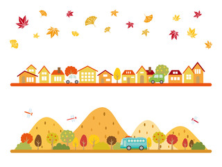 秋の街並み バナー素材セット