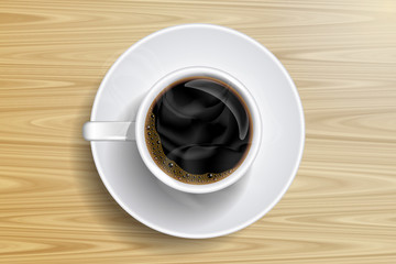 coffee cup and coffee bean on the wooden table illustration