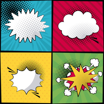 multicolored square banner in pop art style halftone with stripes and dialog callout in different forms vector illustration